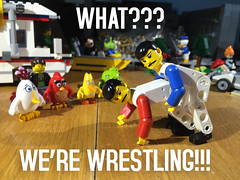 Huh? (woodrowvillage) Tags: gay birds funny lego wrestling mini technic legos angry figure mustache minifigures