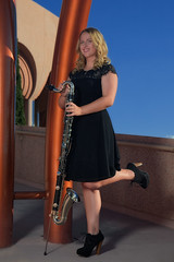 Natalie Portrait with Bass Clarinet (eoscatchlight) Tags: arizona portrait blonde tempe seniorportrait outdoorportrait strobist asugammagetheater