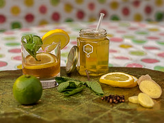 Tea with a summery touch. My wife was inspired by a friend. (Angelbattle bros) Tags: summer food water glass beautiful fruit outdoors lemon healthy natural tea drink mint fresh honey lime