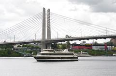 The Portland Spirit at Tilakum Crossing Bridge (Orbmiser) Tags: bridge oregon portland nikon crossing sightseeing cruiseship willametteriver summmer d90 tilikum 55200vr