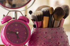 Makeup Time (yafit770) Tags: pink clock beauty canon mirror makeup brushes challengeyouwinner