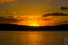 Sunset over the Hudson (davegammon) Tags: sunset landscape river wake clouds shadow ray sun hudson outdoor sky