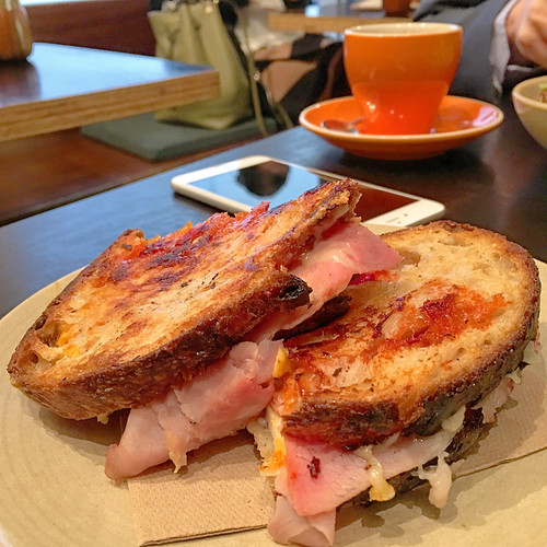 Delicious egg, ham and cheese toastie for breakfast at Marlowe's Way in Sydney