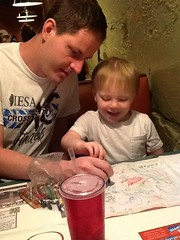 "Paul and Daddy Draw Cubes at Margarita's • <a style=""font-size:0.8em;"" href=""http://www.flickr.com/photos/109120354@N07/27821710376/"" target=""_blank"">View on Flickr</a>"