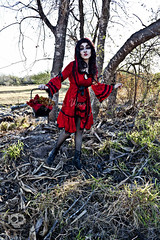 Through the WOods 7392 (JoDi War) Tags: trees sunset red wild nature grass fairytale dark lost blood woods wolf dress boots lace gothic victorian velvet hood storybook rhyme grandmothershouse nurseryrhyme throughthewoods storytale