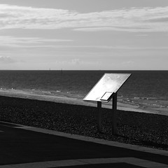 Solent (Andrew Malbon) Tags: leica leicam9 m9 rangefinder handheld southsea southseacommon coast solent summicron 90mmf2 90mm manualfocus manual vintage portsmouth strongisland hampshire earlymorning early bokeh blackwhite bw urban square signage notice seaside seafront sea clouds