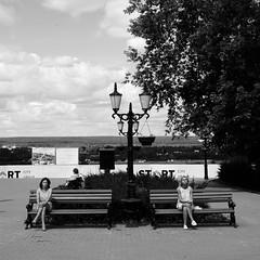 (nVa17) Tags: street girls blackandwhite bw sun girl sunshine bench square blackwhite women streetphotography streetphoto perm bnw blackandwhitephotography         everybodystreet innervisionsru