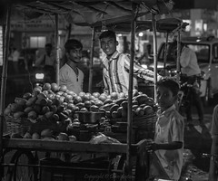Night Market Bidar India - Explored (Dave Sexton) Tags: india karnataka state blackandwhite monochorme market traders stall fruit vegetables samyang 85mm f14 pentax k1