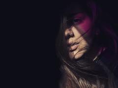 Shoot me down (JackyDiamond) Tags: portrait self black background purple light girl sensual