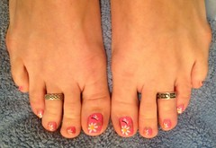 May 2013 Daisy Toes (martha.harmon) Tags: pink flowers flower feet daisies foot toes toe daisy pedicure toering nailart toenail hotpink naildesign