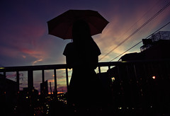 Mourning for dusk... (Angelo G.I.O.) Tags: road city portrait sky people streets cars love colors girl silhouette clouds umbrella buildings reflections walking thailand outside outdoors person lights evening nikon waiting girlfriend asia afternoon dof traffic mourning dusk availablelight bangkok silhouettes cables thai 1855mm nikkor naturalight eveninglight thaipeople urbanscenery electriccables thailady d3000 bangkae streetsofbangkok nikond3000 totallythailand girlholdingumbrella phetkasemroad phetkasem mourningfordusk1