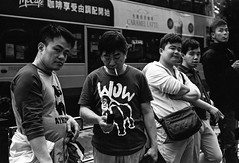 Looking at Me (JustinZ850) Tags: street leica travel urban bw film hongkong 50mm asia kodak trix grain hc110 smoking summicron m6