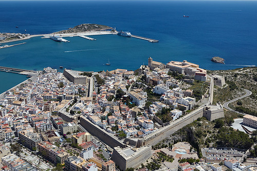 Aerial view of the old town of Ibiza, Spain