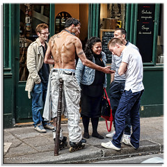 Ten bucks says I can make the post disappear.... (fotografdude (Life in Paris)) Tags: shirtless paris flesh pub topless oddball rollerblades drinkers halfnaked bewildered fotografdude sonyrx100