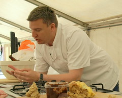 Chat with Chef Peter Sidwell (Tony Worrall Foto) Tags: show new uk england food man cooking june festival demo tv candid cook tent event international chef cumbria judge celeb cumberland foodfestival foodie furness barrowinfurness 2013 southcumbria foodiefest britainsbestbakery 2013tonyworrall
