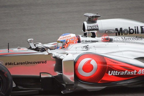 Jenson Button in his McLaren during Free Practice 2 at the 2013 British Grand Prix