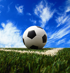 Soccer ball on grass background (joesive47) Tags: summer white black game green net grass playground sport illustration night ball fun outdoors football goal team shoot play exercise symbol kick stadium background soccer ground competition right victory equipment entertainment national single netting sporting success vector illustrators lineman
