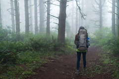 Backpacking (andreaskoeberl) Tags: california trees mist girl northerncalifornia misty fog forest dark person grey one haze woods nikon dof hiking path f14 marin gray foggy hike depthoffield trail backpacking backpack bayarea pointreyes coastaltrail 50mmf14 d800 nationalseashore glencamp nikond800