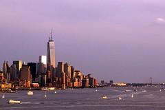 Twilight Manhattan Waterways (dennoit) Tags: newyorkcity sunset newyork building skyline skyscraper boat ship dusk manhattan hudsonriver magichour freedomtower