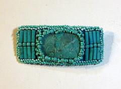 Turquoise Barrette (floyfreestyle) Tags: handmade turquoise teal beaded barrette