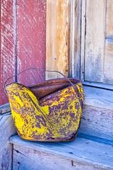 Bodie - Old Yellow Pail (www.karltonhuberphotography.com) Tags: california statepark door old blue red yellow metal morninglight wooden bucket rust colorful rustic steps bodie doorframe pail easternsierra fadded 2013 nikkor55200mm nikond7000 karltonhuber