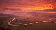 Cuckmere Sunrise from High & Over (JamboEastbourne) Tags: park england mist sunrise river downs sussex high south over frog east national alfriston cuckmere firle downland