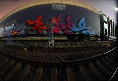Freight train parties (Roze Saint-P) Tags: lighting light art night painting graffiti action rail spray illegal rails freight tran graffitiart roze freighttrain sprayart drawning wert ezor wert159