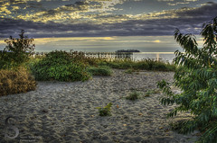 Quiet spot on the beach (Singing With Light) Tags: morning november beach sunrise photography 1 pier pentax ct k5 walnutbeach charlesisland 2013 miilford singingwithlight singingwithlightphotography