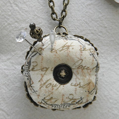 4cm Biscornu Pincushion Necklace (Wychbury Designs) Tags: bronze handwriting vintage print necklace pin sewing pins chain button lettering pincushion wearable cushion stitched