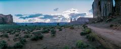 Monument Valley dusk (flippers) Tags: vacation arizona usa mountain holiday mountains film rock america 35mm unitedstates desert horizon wide roadtrip panoramic swinglens navajo monumentvalley horizonperfekt oljatomonumentvalley istsébii'ndzisgaii