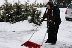 cleaning the way (Anamaria Brigitte) Tags: winter red snow cold scarf season outside cleaning while snowing heavy