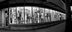 South Beach Mannequins - 15 Photo Stitched Panoramic Black & White Version; South Beach, Florida (hogophotoNY) Tags: blackandwhite bw night blackwhite unitedstates pano olympus panoramic nightphoto stitched e500 olympuse500 fourthirds olympusdslr stitchedpanoramic olympusfourthirds