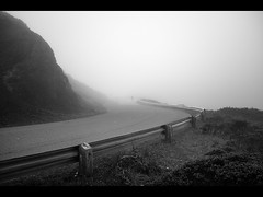 vanishing (sebboh) Tags: sanfrancisco road bw silhouette fog spooky twinpeaks mysterious sonyrx1 carlzeiss35mmf2sonnar