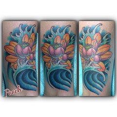 Tribal sun cover up #coverup #lotus #fingerwaves #pooch_art @neotatmachines @fusionink_ca