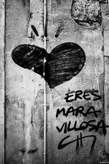 poema de amor (eMecHe) Tags: espaa amigos detalle muro blancoynegro graffiti nikon d70 bn personas paseo contraste salamanca fotografia dibujo corazn pintada corazon pintura blanconegro 2014 abandonado isma grafismos fragmentos emeche