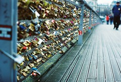 Much Love (Stephanie Overton) Tags: bridge paris france art love film pentax lock live romance laugh padlock