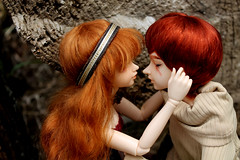 Lysander and Cinder. (Silvermasques) Tags: fire ginger goddess queen event mohair heads carrot his knight bjd fl custom limited edition 2008 scar fairyland 2009 abjd msd juri mnf faceup shiwoo