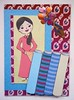 ATC1255 - The Vietnamese silk seller (tengds) Tags: pink blue flower green atc artisttradingcard asian vietnamese maroon artcard papercraft vietnamesesilk aodai handmadecard vietnamesegirl tengds textilebolts