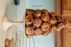 Scented Pastry Croquembouche Ornament Pastry Topiary With Caramelized Sugar Drizzles - Faux French Pastry Table Display With Choice of Scent (Everything Dawn Bakery Candle Treats) Tags: wedding food cake french table topiary colonial fake ornament pastry faux centerpiece decor scented croquembouche