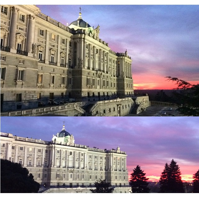 #sunset in #Madrid is beyond beautiful. #Palacio_real #sunset #nofilter #architecture #sky_colors #skylights #winterbreak