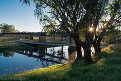 Morning Walk (Rikardo daVinci) Tags: summer water rural river landscape scenic sunburst riverbank 2015