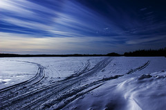 Frozen Lake (souzouki_123) Tags: winter sky lake canada ice clouds contrast dark landscape countryside quebec path country lakes trails bluesky shades sharp crisp wallpapers february yesterday ways abitibi snows snowtrails 9february