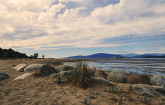 Draw a Line in the Sand (charhedman - away till June) Tags: ocean sky water grass vancouver clouds sand rocks footprints pacificocean lowtide jerichobeach