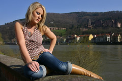 Mandy 07 (The Booted Cat) Tags: woman sexy girl model boots cigarette smoking jeans blonde demin