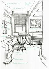 View of the hot desk from the door