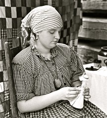7 Days with Flickr, Monday: Portraits (Dee Gee fifteen) Tags: bw portraits doll quilt squares patterns plaid heritagefestival dollmaker 7dwf