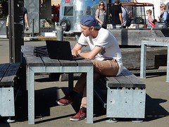 Laptop in the Sun (mikecogh) Tags: sunshine bench waterfront laptop working cap wellington