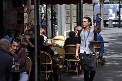 Waitress in the Marais (AntyDiluvian) Tags: trip paris france cafe tray waitress marais 2015