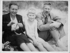 On the beach at Sandbanks (mgjefferies) Tags: england beach dorset sandbanks poole 1953 whitsunday fwjefferies psjefferies