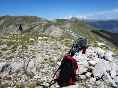 Our packs on Monte Fragara, with Pizzo Deta behind (markhorrell) Tags: walking lazio apennines montiernici